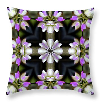 Pink And White Flowers Abstract Throw Pillow