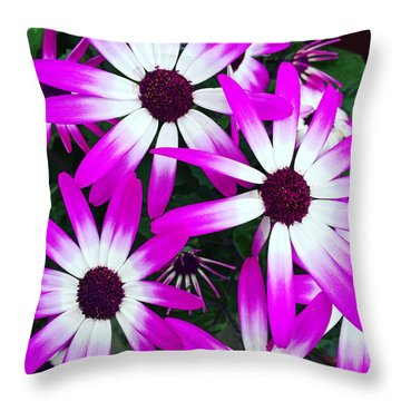 Pink And White Flowers Throw Pillow by Vizual Studio