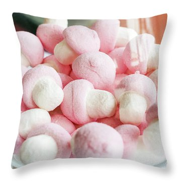 Pink And White Marshmallows In Bowl Throw Pillow