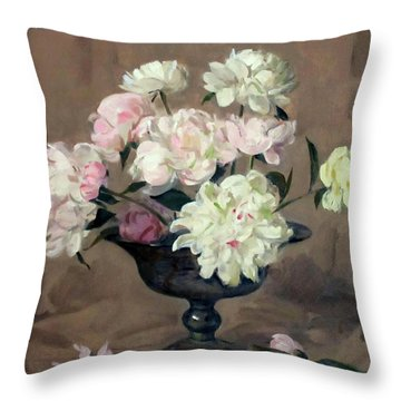 Pink And White Peonies In Footed Silver Bowl Throw Pillow
