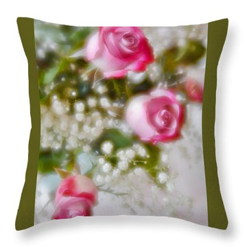 Throw Pillow featuring the photograph Pink And White Rose Bouquet by Diane Alexander