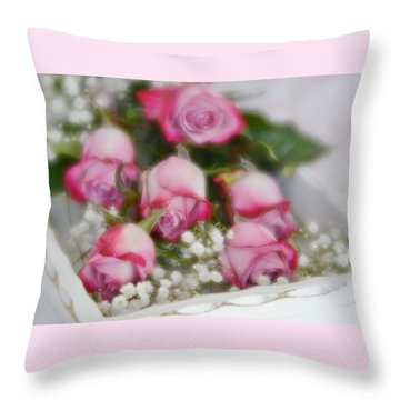 Throw Pillow featuring the photograph Pink And White Roses In White Box 2 by Diane Alexander