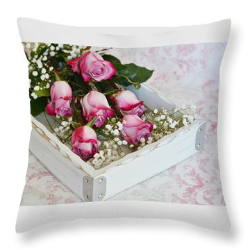 Pink And White Roses In White Box Throw Pillow by Diane Alexander