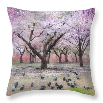 Throw Pillow featuring the photograph Pink And White Spring Blossoms - Boston Common by Joann Vitali