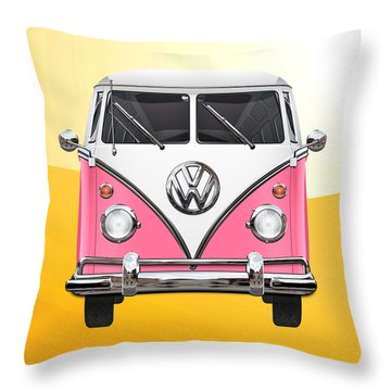Pink And White Volkswagen T 1 Samba Bus On Yellow Throw Pillow by Serge Averbukh