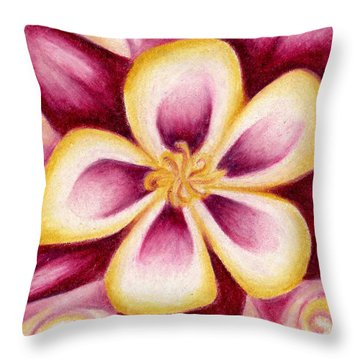 Pink And Yellow Columbine Flower Drawing Throw Pillow