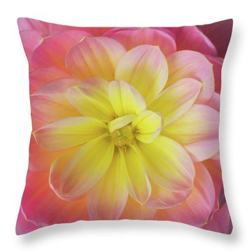 Throw Pillow featuring the photograph Pink And Yellow Dahlia by Mary Jo Allen