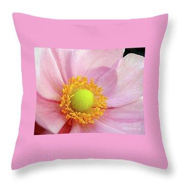 Pink Anemone Throw Pillow by Kaye Menner