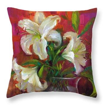 Pink Angel White Lilies Throw Pillow by Nancy Medina