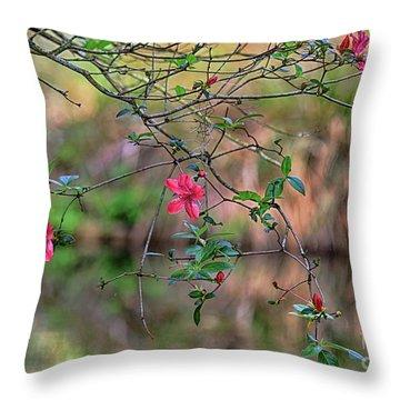 Throw Pillow featuring the photograph Pink Azalea Dream by Deborah Benoit