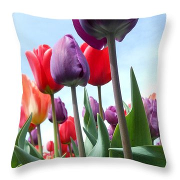 Pink Baby In Tulip Garden Throw Pillow