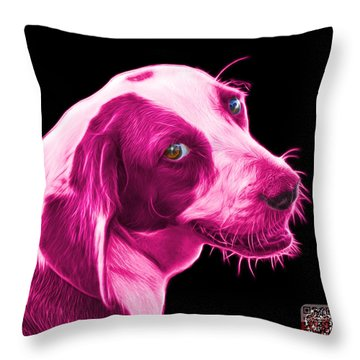 Pink Beagle Dog Art- 6896 - Bb Throw Pillow