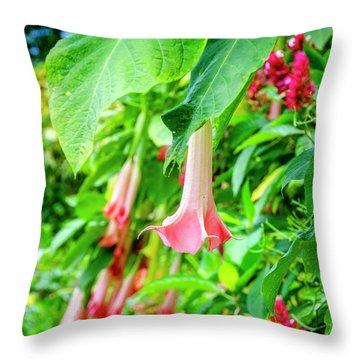 Pink Bell Flowers Throw Pillow