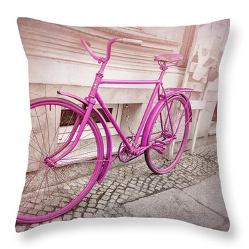 Pink Bicycle In Wroclaw Poland Old Town  Throw Pillow