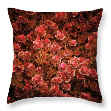 Pink Bionica Roses Throw Pillow