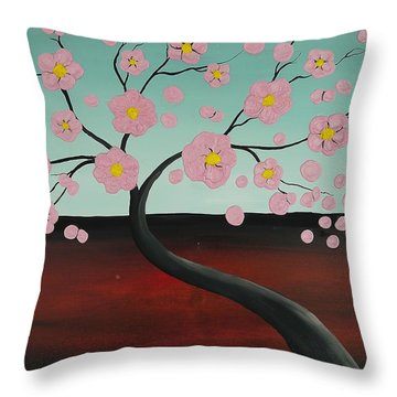 Throw Pillow featuring the painting Pink Blooming Tree by Edwin Alverio