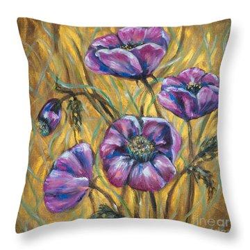 Pink Blooms Throw Pillow