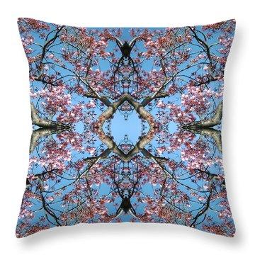 Pink Blossom Mandala Throw Pillow