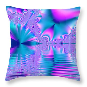 Pink, Blue And Turquoise Fractal Lake Throw Pillow