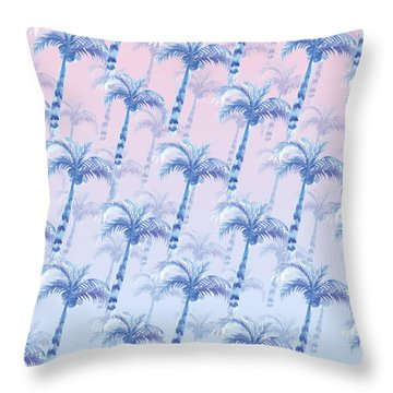 Pink Blue Palm Tree Grove Throw Pillow