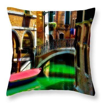 Pink Boat And Canal Throw Pillow