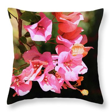 Pink Bougainvillia- Photograph By Linda Woods Throw Pillow