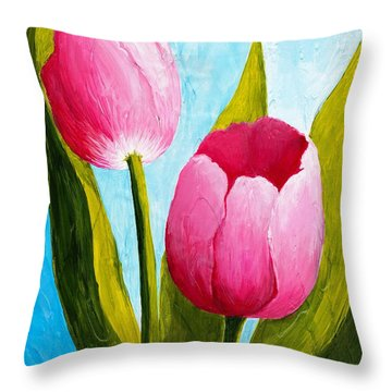 Pink Bubblegum Tulip II Throw Pillow