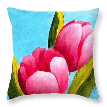 Pink Bubblegum Tulips I Throw Pillow
