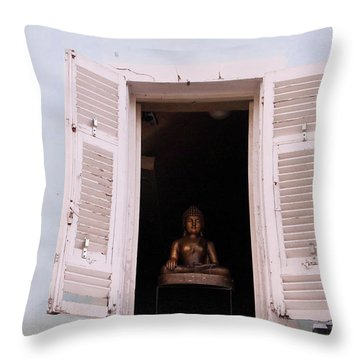 Throw Pillow featuring the photograph Pink Buddha by Rasma Bertz