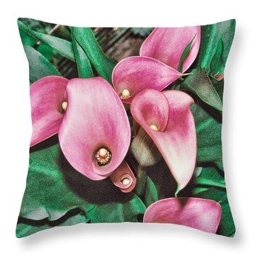 Pink Calla Lillies Throw Pillow