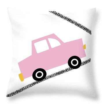 Pink Car On Road- Art By Linda Woods Throw Pillow