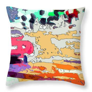Throw Pillow featuring the painting Pink Car Urban Graffiti by Ginette Callaway