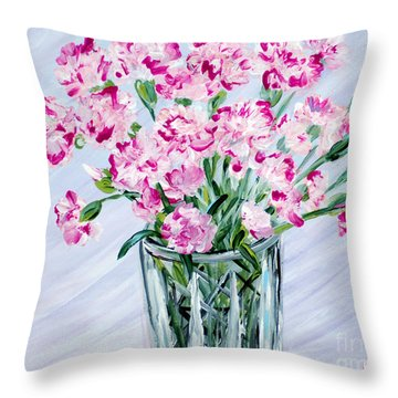 Pink Carnations In A Vase. For Sale Throw Pillow