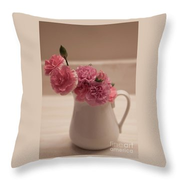 Pink Carnations Throw Pillow by Sherry Hallemeier