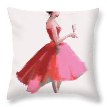 Pink Champagne Fashion Art Throw Pillow by Beverly Brown