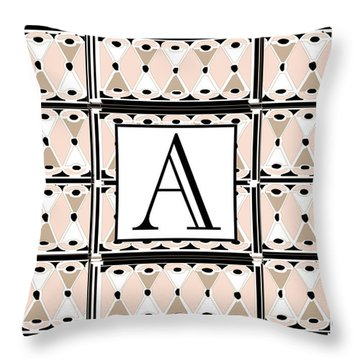 Pink Champagne Deco  Monogram  A Throw Pillow