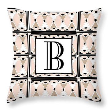 Pink Champagne Deco Monogram  B Throw Pillow