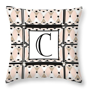 Pink Champagne Deco Monogram  C Throw Pillow
