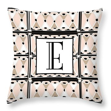 Pink Champagne Deco Monogram  E Throw Pillow