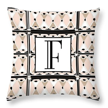 Pink Champagne Deco Monogram  F Throw Pillow
