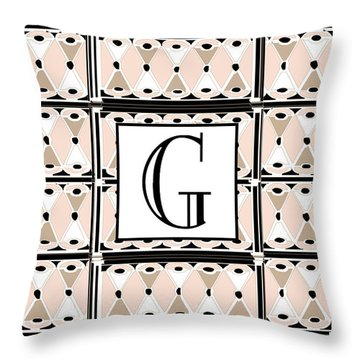 Pink Champagne Deco Monogram  G Throw Pillow