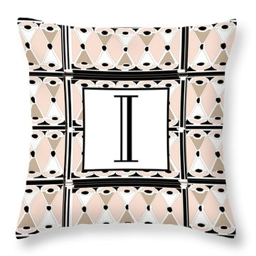 Pink Champagne Deco Monogram  I Throw Pillow
