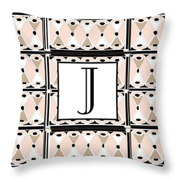 Pink Champagne Deco Monogram  J Throw Pillow