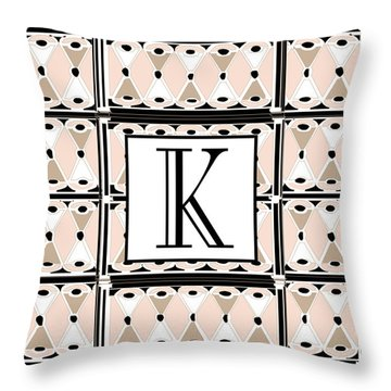 Pink Champagne Deco Monogram  K Throw Pillow