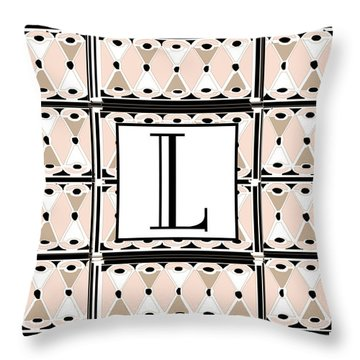 Pink Champagne Deco Monogram  L Throw Pillow