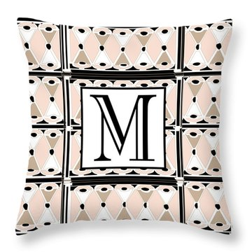 Pink Champagne Deco Monogram  M Throw Pillow
