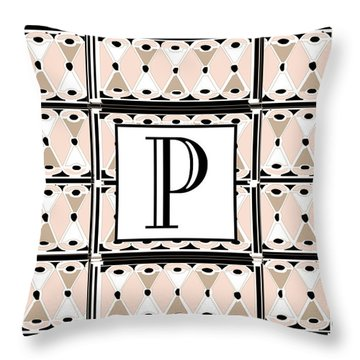 Pink Champagne Deco Monogram  P Throw Pillow