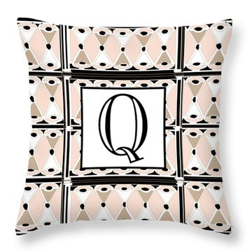 Pink Champagne Deco Monogram  Q Throw Pillow