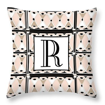 Pink Champagne Deco Monogram  R Throw Pillow