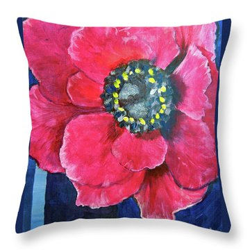 Pink Cheerful Flower Throw Pillow